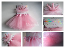 Rising Star Baby Girl 2 Piece Photo Prop Pink Crown Headband and Tutu Set 0-12M