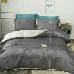 Egyptian Cotton Duvet Cover Set Silver Bedding Set Comforter Cover Bed Sheet
