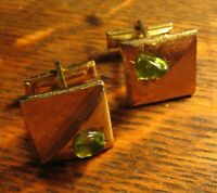Mid Century Gold Cufflinks - Vintage Atomic Green Rhinestone Stone Cuff Links