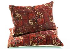 More details for antique early to mid 20th century country house large pair of kilim cushions