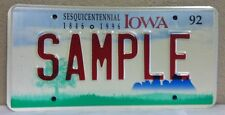 1992 IOWA ,Sesquicentennial 1846-1996, Sample License Plate - Green Graphics