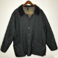 BARBOUR Liddesdale Black Quilted Snap Jacket Lined Made In England Mens Sz XXL