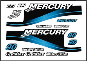 Replacement Decal Kit for Mercury 90 HP Blue Saltwater Outboard Motor