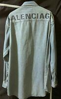 Balenciaga Oversize Washed Indigo Denim Shirt Jacket Size 40