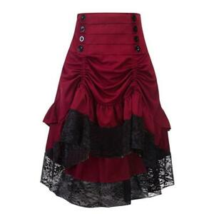 Women Retro Ladies High Waist Gothic Lace Long Skirt Steampunk Party Dress 2019