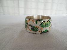 "bangle cuff bracelet 1 1/2"" wide Nice silver tone blue leaf enamel"