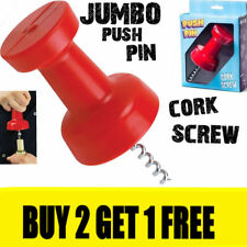 Ultimate Wine Bottle Glass Jumbo Corkscrew Push Pin ~ Bar Kitchen Magnet Opener