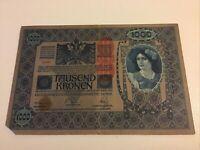 Austria Banknote. 1000 Kronen. 1919 Series. Pick 59. Vintage Note.