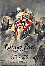 Kunst AD Grosser Preis von Deutschland 1934 Auto Car Race Deko Plakat Druck