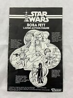 """Vintage - Star Wars - BOBA FETT - Large Action Figure - 12"""" -1979 - Instructions"""