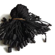 "7"" 100pcs Black Hang Tag Nylon String Snap Lock Pin Loop Fastener Hook Tie New"