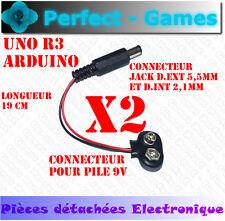 2X Câbles connecteur adaptateur alimentation pile battery 9V arduino Jack UNO R3