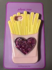 LIGHT PINK GLITTER  HEART & FRENCH FRIES iPHONE CASE FITS iPHONES 6/6S/7/8