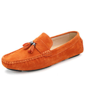 Men's Pumps Loafers Shoes Tassel Slip on Flats Driving Moccasin Suede Breathable