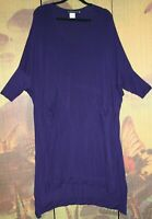 "JOIN CLOTHES @SAHARA Purple Dress 46-54""Bust Soft Stretch QUIRKY Draping Pockets"