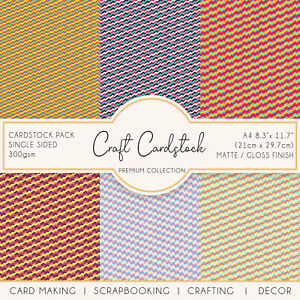 ZigZag Check Patterned Scrapbooking 300gsm Card Making Crafting Cardstock Cricut