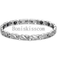 Charm Womens Ladies Silver Tone Stainless Steel Braided Link Magnetic Bracelet