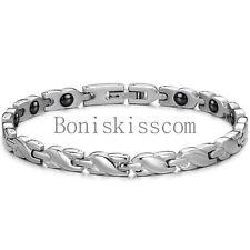 Charm Womens Ladies Silver Tone Stainless Steel Braided Link Magnetic Bracelet