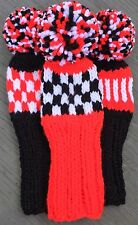 """3 HAND KNIT 8"""" GOLF HEAD COVERS RED WHITE BLACK HYBRID IRONS FUN GIFT"""