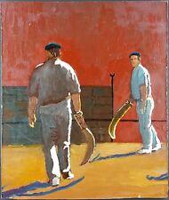 """Ancien Tableau """"Pelote Basque"""" Peinture Huile Antique Oil Painting"""