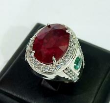 Natural Ruby & Emerald Gemstone with 925 Sterling Silver Ring for Men's