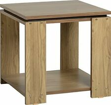 Charles Lamp Table in Oak Effect Veneer With Walnut Trim Living Room Furniture