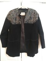 Vintage Atlantic Beach Black Leather and Suede Studded Jacket Size Medium