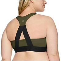 Brand - Core 10 Women's Plus Size Cross Back Sports Bra, Black, Size 2.0