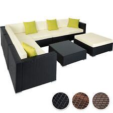 Ensemble salon de jardin aluminium résine tressée poly rotin table sofa