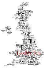 Personalised Country Map - Word Art Print