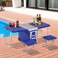 28L Cooler Box Folding Table Chair Set Picnic Camp Freezer Blue
