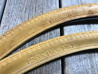 "VINTAGE BIKE BICYCLE BARUM TIRES 28 x 1-1/4 x 1-3/4 28"" TIRES YELLOW PAIR CZECH"