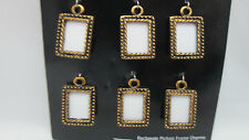 "Charm Me Charm Set - 6 Rectangle 3/4"" Picture Frames - Ant. Gold Toned"