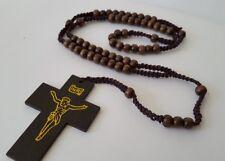 OLIVE WOOD Rosary PRAYER Beads HANDMADE BETHLEHEM WITH CROSS necklace