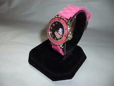 Ladies Unbranded Flower Dial Silvertone Analog Quartz Watch Pink Jelly Band