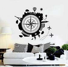 Vinyl Wall Decal Travel Agency Earth Wind Rose House Interior Stickers (ig4081)