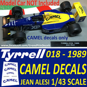 Formula 1 Collection Camel DECALS for the Tyrrell 018 1989 1/43 scale Alesi car