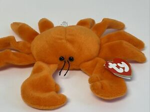 "EUC Ty Beanie Babies-Orange ""Digger"" The Crab 3rd/1st Gen TT Near Mint"