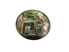 Vintage Taxco RRB Pendant/Pin Combo with Abalone & Patina