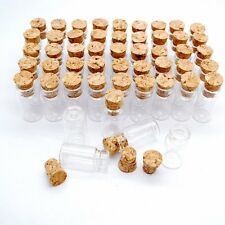 LOT of 100 small glass vials with cork tops 2 ml tiny bottles Little empty jars