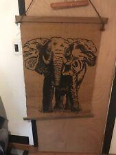 "Vintage 1977 ""SIRI"" Burlap Printed Hanging Wall Art Piece Black Elephant 36 X 26"