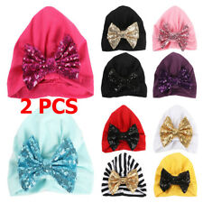 2 PCS Baby Toddler Kid Girls Shiny Sequin Beanie Cap Bow Turban Stretchy Hat