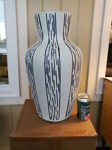 "Large Art Pottery Modern W. German Vase. Cream body w/ vertical blue design 19""H"