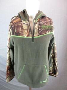 Huntworth Size L/14-16 Boys Brown Long Sleeve 1/4 Zip Fleece Hunting Hoodie T550