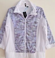 NWT CYNTHIA ROWLEY NEW YORK ACTIVEWEAR LAYERED WHITE JACKET MESH LINING size M