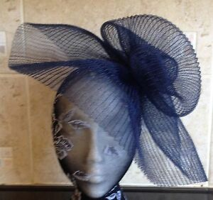 navy blue crin fascinator headband headpiece wedding party piece race ascot
