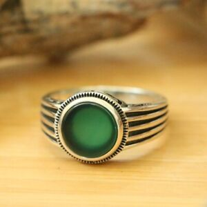 Natural Green Agate Men's Rings, Handmade 925 Sterling Silver Ring SIZE 10.5