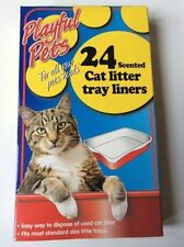 24 SCENTED CAT LITTER TRAY LINERS DISPOSABLE BAGS WHITE 66CM x 30CM NEW