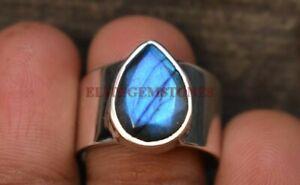 Natural Labradorite Gemstone with 925 Sterling Silver Ring for Men's EG1016