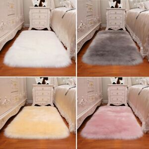 Faux Wool Area Rug Super Soft Furry Home Floor Mat Carpet Chair Floor Seat Mat